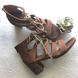Chunky stacked wooden heel lace up heeled sandal